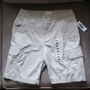 Old Navy light gray woven cotton cargo shorts